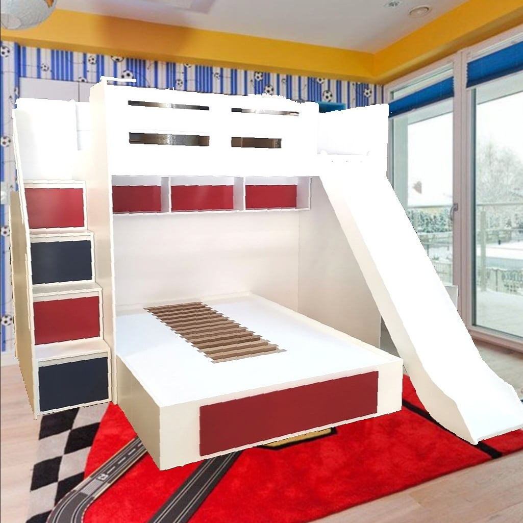 L Shape Galaxy Bunk Bed with slide