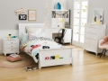 Sleigh bed with bookshelf